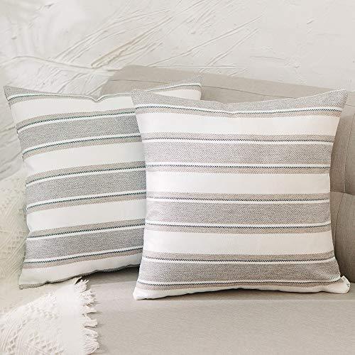 Natus Weaver 2 Pack Stripe Pillow Cases Soft Linen Square Decorative Throw Cushion Cover Pillowcase with hidden Zipper for Car Sofa Baby 30 x 30 cm, 12' x 12'