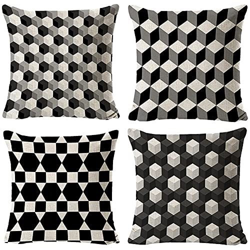 Throw Pillow Cover 35x35cm/14x14in Geometric Black Grid Cushion Decorative Pillow Cover Square Double-Sided Cushion Cover 4 Pack Linen Cushion Covers,for Garden Couch Pet Sofa Bedroom Home Decor R182