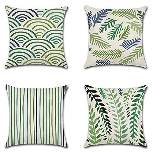 Set of 4 Decorative Cushion Covers 45x45cm, Abstract Human Face and Plant Pattern Waterproof Throw Pillow Covers, Cushion Cover Decorative, Perfect to Outdoor Patio Garden Blench Farmhouse Decor