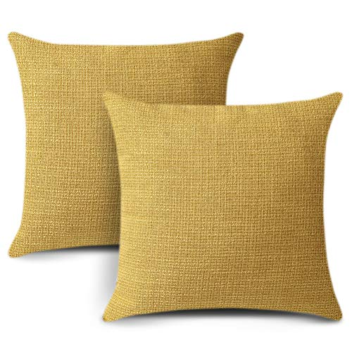 Artscope Yellow Cushion Cover Set of 2 Linen Decorative Square Pillowcase Pillow Cover 50x50cm for Home Decor Sofa Bedroom Car 20x20 Inch