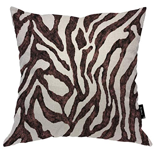 Seemuch Zebra Skin Pattern Throw Pillow Cover Animal Fur Black Brown Striped Texture Wallpaper Art Print Durable Cushion Case Cotton Linen For Bedroom Dorm Office 16x16 Inch