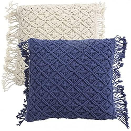 Macrame Cushion Cover Navy Blue Color Home Decor Wedding Decor Throw Car Pillow Cover 16 x 16 inches Gift Set Of 2