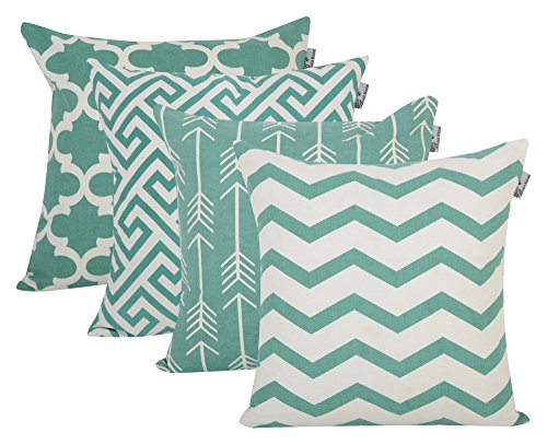 ACCENTHOME Square Printed Cotton Cushion Cover,Throw Pillow Case, Slipover Pillowslip for Home Sofa Couch Chair Back Seat,4pc Pack 45 x 45 cm Teal Color