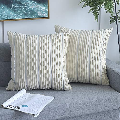 Yeadous Decorative Cream Cushion Covers, Jacquard Wave with Silver Stripes Throw Pillow Covers, Practical Square Velvet Pillows Cushions for Couch Sofa Bed, 45cm x 45cm, 18 x 18 Inches, Set of 2