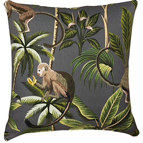Linen Loft Saimiri Squirrel Monkey and Exotic Botanical Cushion Cover. 17x17 Square Cover. Charcoal Grey Blue Monkeys and Palm Trees. 100% Cotton. Cover Only.