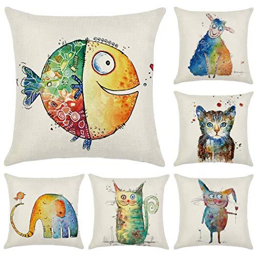 Hodeacc 6 Pcs Rainbow Animals Throw Pillow Covers,18 x 18 Inch Cartoon Decorative Cushion Cover Home Decor Children Room Decorative,CASE ONLY