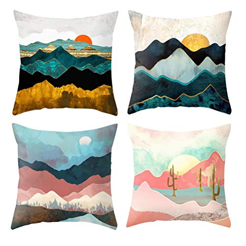 nuoshen 4 Pcs Sun Cushion Cover Throw Pillow Covers, Beautiful Sunrise Sunset Stripe, 18x18 Inch Cotton Square Cushion Covers Standard Pillowcase for Home Decorative Bedroom Living Room Car Sofa