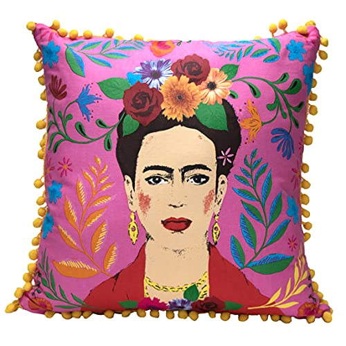 Talking Tables Pink Frida Kahlo Cushion and Cover with Pom Poms   Boho Decorative Pillow for Home Decor, Inspirational Women Gifts, Bedroom, Sofa, Chair