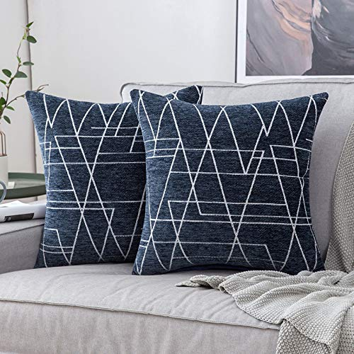 MIULEE Pack of 2 Cushion Covers Ray Pattern Decorative Square Throw Pillow Case Luxury Pillowcases for Couch Livingroom Sofa Bed with Invisible Zipper 45cm x 45cm18x18 Inches 2 Pieces Navy Blue