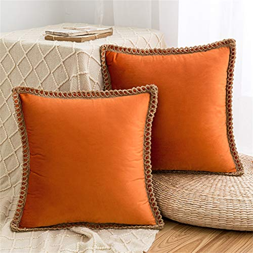 HAUSEIN 2 Pack Velvet Throw Pillow Covers Decorative Pillowcase, Trimmed Edge Square Soft Solid Cushion Case, for Couch Sofa Bedroom Car 45x45 cm, Orange