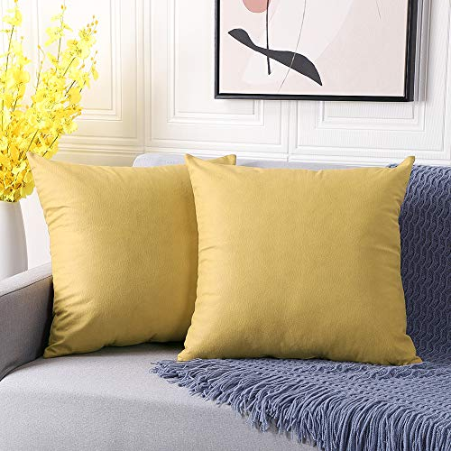 Artscope Set of 2 Cozy Decorative Faux Leather Modern Cushion Covers Square Luxury Cushion Cases Durable Throw Pillow Covers Shell for Couch Sofa Bed Living Room 45x45cm, 18x18 Inches (Yellow)