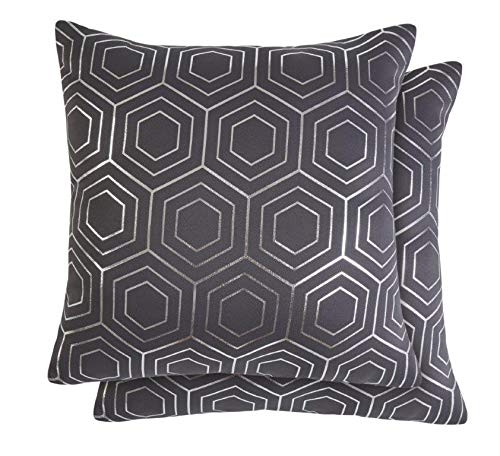 Lex's Linens Pack of 2 Modern Metallic Geometric Patterned Cushion Covers (Grey & Silver)