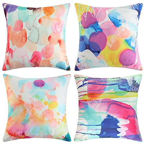 4 Packs Cushion Covers 45 x 45 cm Colorful Square Pillowcases Double Sided Pattern for Livingroom Bedroom Velvet Decorative Throw Square Pillow Cases for Home Decor Favor with Invisible Zipper