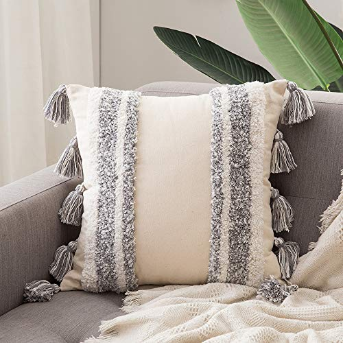 MIULEE Tasseled Cushion Covers Bohemian Indian Embroidered Decorative Square Throw Pillow Case Pillowcases for Couch Livingroom Sofa Bed with Invisible Zipper 18x18inch 45x45cm