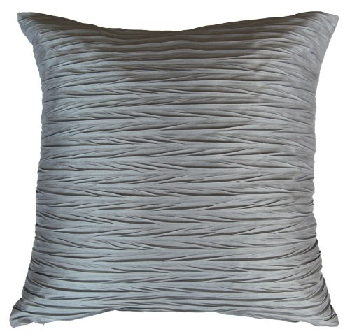 Sterling Mill LUXURY FAUX SILK CRINKLE CUSHION COVERS 18' x 18' (45x 45cm) - 7 Colours (Warm Silver)