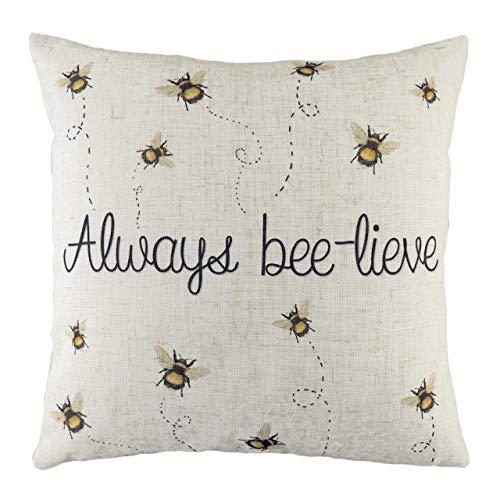 Evans Lichfield Bee-Lieve Cushion Cover, White, 43 x 43cm
