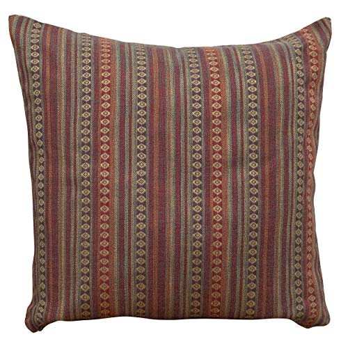 Linen Loft Extra Large Turkish Style Woven Cushion Cover in Burgundy Red. Heavyweight Woven Navajo Rug Style Fabric. 58cm (23') Square Cushion Cover. Double Sided.