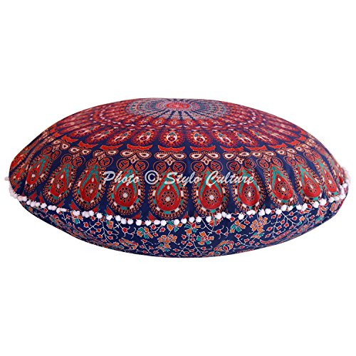 Stylo Culture Ethnic Bohemian Floor Cushion Outdoor Throw Pillow Cover Dark Blue Red 80x80 cm Meditation Large Mandala Pom Pom Lace Round Large 32 Inch Decorative Cotton Peacock Chair Seating Cover