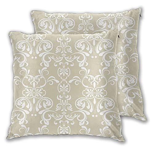 BROWCIN Throw Pillow Covers Set of 2 Beige Traditional Paisley Lace Design Print Pillowcase for Living Room Bedroom Sofa Couch Decorative Cushion Cover without Pillow 30cm x 30cm