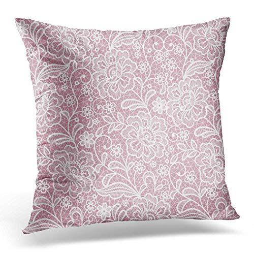 Awowee Cushion Cover 40x40cm/16x16inches Pattern Lace Floral Crochet White Vintage Love Wedding Traditional Home Decor Throw Pillow Cover Square Pillowcase for Bed Sofa