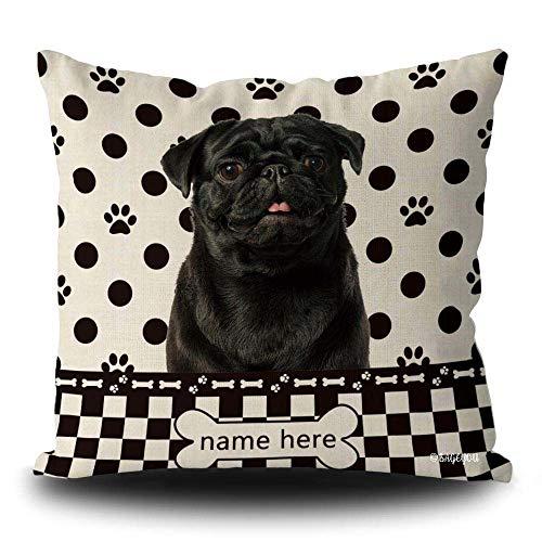 BAGEYOU Custom Dog Polka Dots Throw Pillow Cover Black Pug Dog Buffalo Check Plaid Paw Bone Home Decor Square Couch Cushion Case Pillowcase 18 x 18 Inch