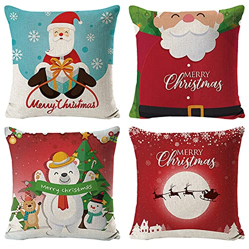Throw Pillow Cover 80x80cm/32x32in Winter Snow Deer Cushion Decorative Pillow Cover Square Double-Sided Cushion Cover 4 Pack Linen Cushion Covers,for Garden Couch Pet Sofa Bedroom Home Decoration B800
