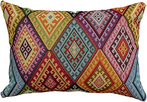 Linen Loft Multicoloured Kilim Style Boudoir Filled Cushion. 17x12 Rectangle. Classic Bright Turkish Style Woven Geometric Tapestry Diamond Pattern Pillow. (Feather filled)