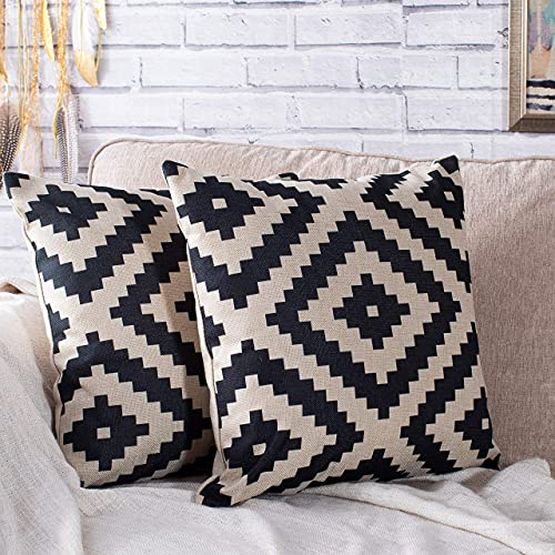 Luxury Linen Cushion Covers For Sofa (2 Pack, Geometric Aztec) Soft Square Pillow Case 18''x 18'' Printed Cushion Covers- Elegant Euro Sham cover Decorative Sham cover for Car, Sofa, Bed room Couch