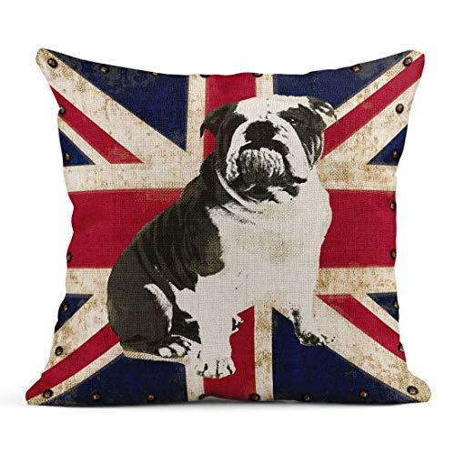 Tarolo Linen Throw Pillow Cover Case British Bulldog Vintage Decorative Pillow Cases Covers Home Decor Square 16 x 16 Inches Pillowcases