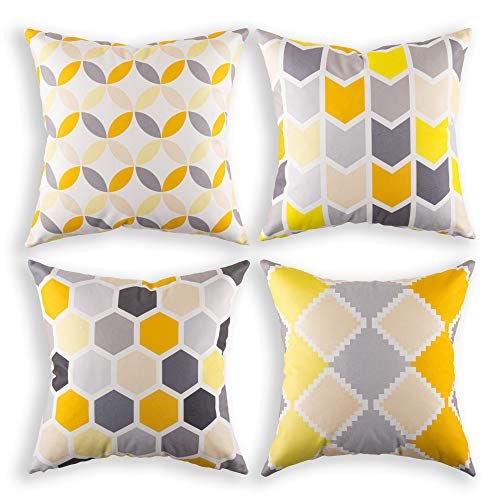 AMITRIS Cushion Cover 40 x 40 cm Velvet Cushion Decorative Cushion 40 x 40 cm Cushion Set for Sofa and Balcony I Cushion Cover 40 x 40 cm Set of 4 with Hidden Zip Washable