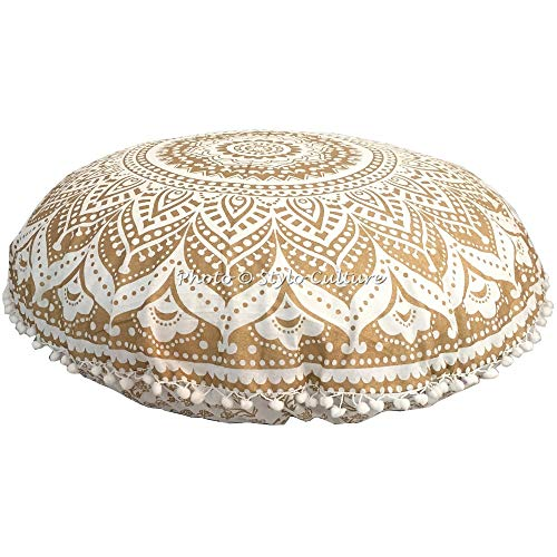 Stylo Culture Indian Round Floor Cushion Chair Throw Pillow Cover Gold 80x80 cm Mandala Yoga Cushions Pom Pom Lace Boho Giant 32 Inch Hallway Cotton Floral Couch Sitting Cover