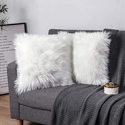 Pack of 2 Decorative Cushion Covers White 60x60CM Decorative Cushion Sheepskin Lambskin Faux Fur Long Hair Sofa Cushion Cuddly Cushion