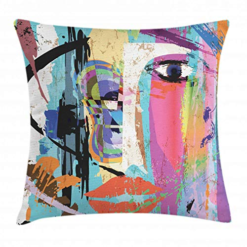FDGRF Abstract Throw Pillow Cushion Cover, Woman Face Art Composition with Paint Strokes and Splashes Eye Red Lips Grungy, Decorative Square Accent Pillow Case, 18' X 18', Blue Rainbow