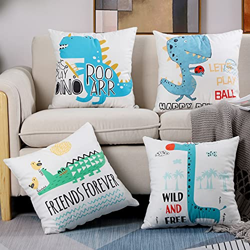 Btyrle Pack of 4 Dinosaur Digital Printing Cushion Covers, Decorative Microfiber Throw Pillow Cover, Soft Pillowcases with Invisible Zipper for Sofa and Couch, 45x45cm/18x18 Inch