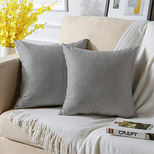 JOTOM Cushion Covers Black and White Stripe Outdoor Garden Cushions Decorative Soft Polyester Throw Pillow Cover Square Pillow Case for Living Room Sofa Couch Bed Pillowcases 45x45cm Set of 2 (Black)