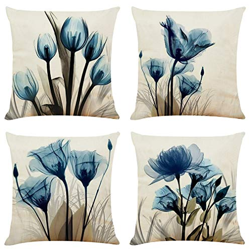 BCKAKQA Decorative Throw Pillow Covers 18x18 inches Set of 4 Blue Flower Cushion Covers Boho Linen Square Throw Pillow Cases for Living Room Sofa Couch Bed Pillowcases 45x45cm