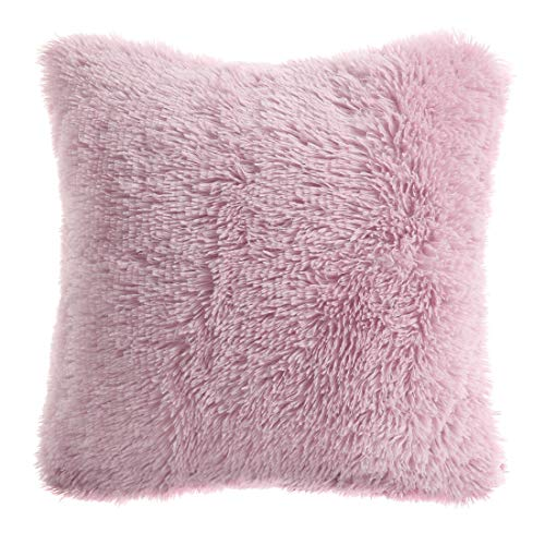 PiccoCasa Faux Fur Throw Pillow Cover,Fluff Plush Cushion Cover Mongolian Luxury Pillow Case Soft Pillow for Home/Sofa/Couch/Bed/Car(24 x 24 Inch 60 x 60 cm, Dark Pink)