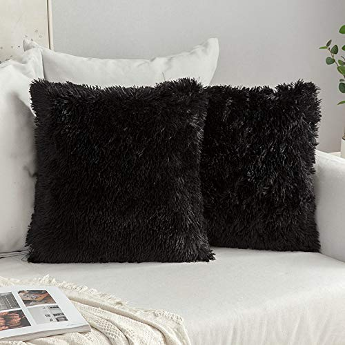 MIULEE Pack of 2 Faux Fur Cushion Covers Halloween Fluffy Soft Decorative Square Pillow covers Plush Case Throw Pillow Cover for Livingroom Sofa Bedroom 24x24 Inch 60 x 60 cm Black