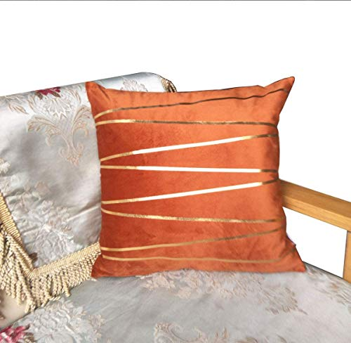 ZUODO 45 x 45 Cm Square Gold Foil Stripe Printing Pillow Covers Orange Velvet Cushion Covers 45 x45 cm Embroidered Decorative for Couch Bed Car(Gold Stripe- orange, 1)