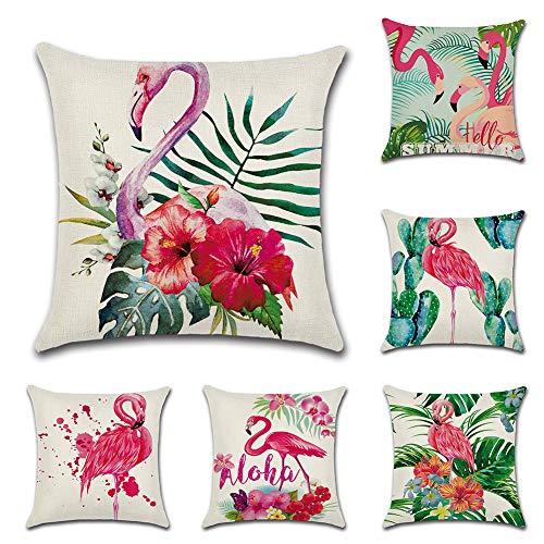 JOTOM Cushion Cover Tropical Plant Square Pillow Case Cover Flamingos Leaf for Home Bedroom Sofa Car Decor 45 x 45cm, Set of 6 (Flamingo)