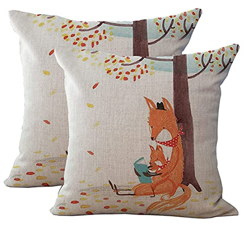 2Pcs Cute Fox Pillow Decorative Cartoon Linen Square Throw Pillow Cover- Fits 16x16 to 18x18 Pillows / Cushions - Inspirational Quote Cotton Linen Throw Pillow Cover Children's Birthday Gift