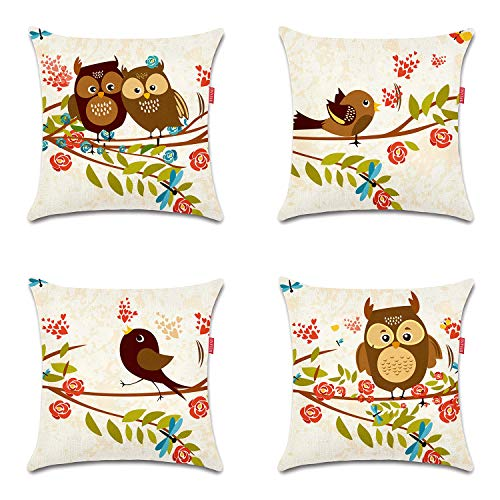 WEIANG Cushion Cover Double-Sided Cartoon Bird Owl Painting Throw Pillowcase for Car Home Sofa Bed 45x45cm(18x18inch) 4 Pieces