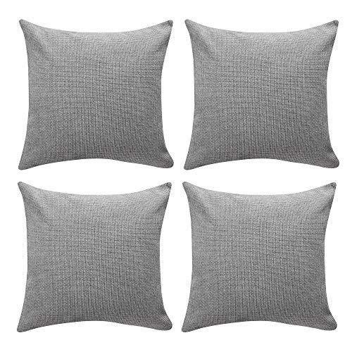 Amazon Brand - Umi Chenille Velvet Throw Pillow Case Super Soft Cushion Covers for Sofa Bedroom Decoration 45 x 45 cm Light Greyi Set of 4