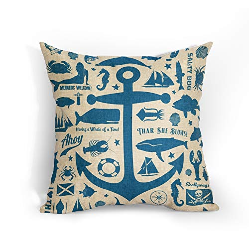 Navy Blue Anchor Cushion Covers 18x18 Inch Soft Cotton Linen Coastal Nautical Theme Pillow Case Marine Organism Home Decor Cushions Cover Gift for Women/Girls Outdoor Bedroom Couch Sofa Living Room