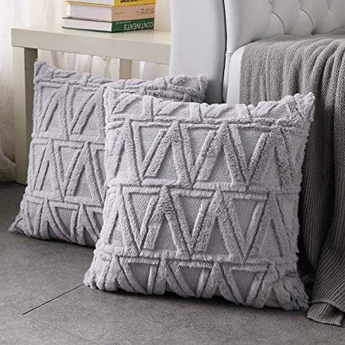 Hanrunsi Cushion Covers 18x18 Cushion Cover Grey Faux Short Fur Decorative Square Throw Pillow Covers Cases 2 pack for Sofa Bed Decor Pillow Covers 45cm