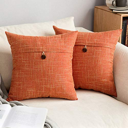 MIULEE Button Cross Shape Faux Linen Square Throw Pillow Case Cushion Cover Home for Sofa Chair Couch/Bedroom Decorative Pillowcase Orange 26 x 26 inch 65cm x 65cm