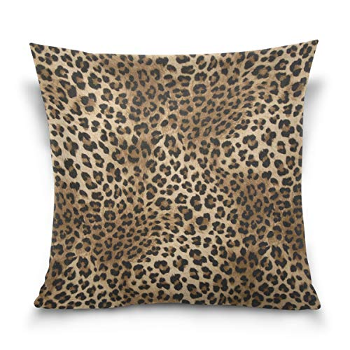 Linomo Throw Pillow Cover 16x16 inch, Leopard Print Decorative Pillow Cases Cushion Cover for Couch Sofa Bed Home