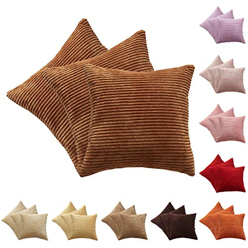 CALIYO Plain Corduroy Cushion Cover Set of 3 Cushion Covers for Decorative Cushions Sofa Cushions Couch Cushions in Many Colours (Cognac-3, 50 x 50 cm)