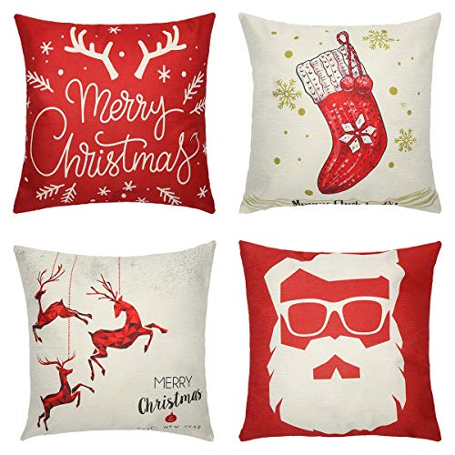 Tensphy Set of 4 Christmas Pillow Cover, Cotton Linen Decorative Pillowcases, Christmas Sofa Cushion Cover for Home Christmas Zippered Square Pillowcase-18 * 18 Inches - Red and Beige