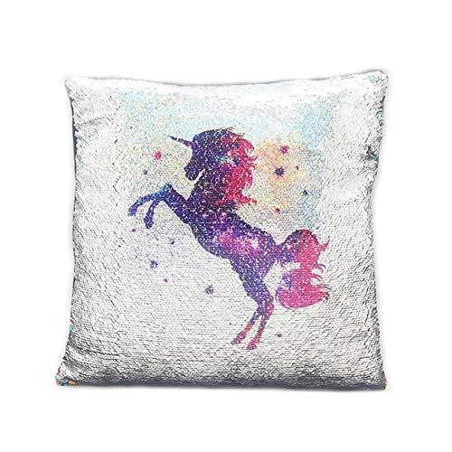 LeahWard Unicorn Rainbow Mermaid Sequin Pillow Cover Cushion Case Magic Kids Girls Hot Xmas Gift (Unicorn Silver/Multi, 38x38cm)
